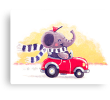 Car Trip - Rondy the Elephant driving his car Canvas Print