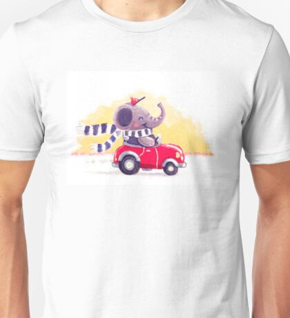 Car Trip - Rondy the Elephant driving his car Unisex T-Shirt