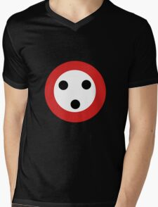Button Man Mens V-Neck T-Shirt