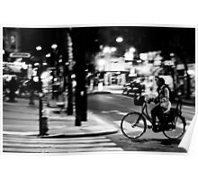 Lady cycling on Paris streets Poster