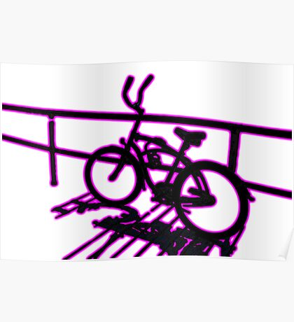 Boardwalk Bicycle Pink Poster