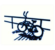 Boardwalk Bicycle Blue Art Print