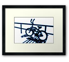 Boardwalk Bicycle Blue Framed Print