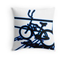 Boardwalk Bicycle Blue Throw Pillow
