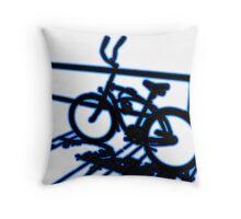 Boardwalk Bicycle Blue Throw Pillow