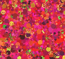 Colorful Red Pink & Gold Circles Abstract Art Pattern by Christina Katson