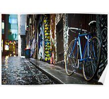 Bicycle in Wet Cobbled Lane Poster