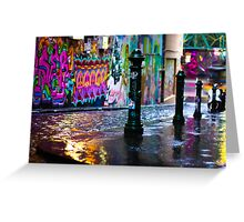 Bollards in a Rainy Graffiti Lane Greeting Card
