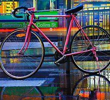 Bicycle on a Rainy Street by jamjarphotos