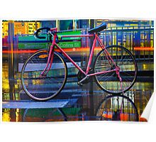 Bicycle on a Rainy Street Poster