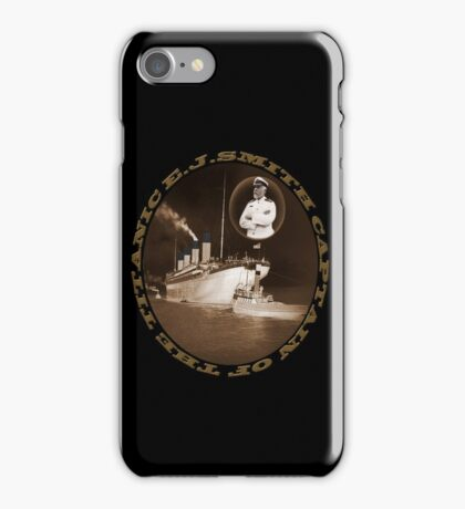 ☝ ☞ EJ SMITH CAPTAIN OF THE TITANIC & TITANIC -TEE SHRIT-Titanic leaving Belfast with two guiding tugs ☝ ☞ iPhone Case/Skin