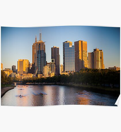 Rowers on the Yarra River as the sun rises on Melbourne city Poster