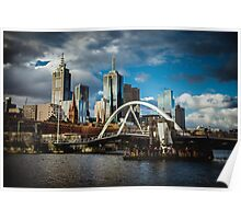 Moody Melbourne from the South Bank of the Yarra River Poster