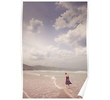 Girl Walking Along a Beach Poster