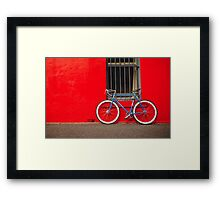 Fixed Gear (Fixie) Bicycle Against a Red Wall Framed Print