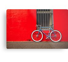 Fixed Gear (Fixie) Bicycle Against a Red Wall Metal Print