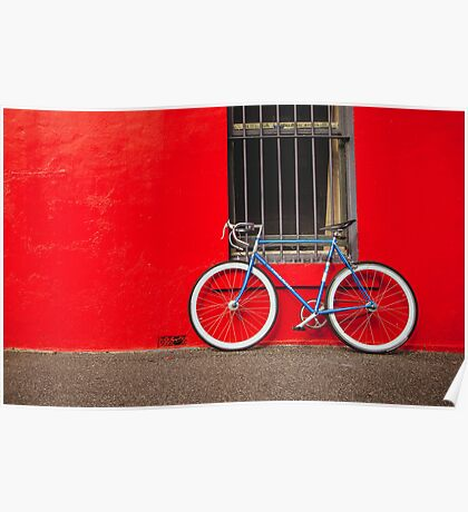 Fixed Gear (Fixie) Bicycle Against a Red Wall Poster