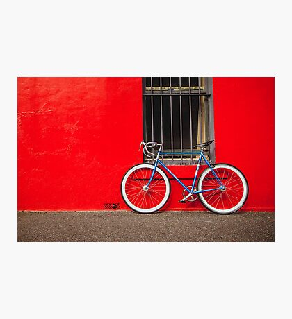 Fixed Gear (Fixie) Bicycle Against a Red Wall Photographic Print