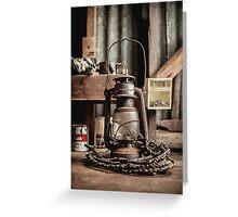 Old Vintage Rustic Lantern Greeting Card