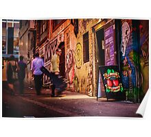 Guy with Guitar Walks out of Cherry Bar in ACDC Lane, Melbourne Poster