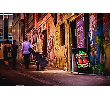 Guy with Guitar Walks out of Cherry Bar in ACDC Lane, Melbourne Photographic Print