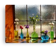 Little Green Bottles Sitting in the Window Canvas Print