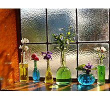 Little Green Bottles Sitting in the Window Photographic Print
