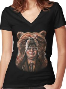 Bear Schrute Women's Fitted V-Neck T-Shirt