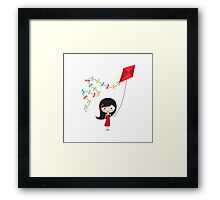 Girl with kite Framed Print