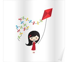 Girl with kite Poster