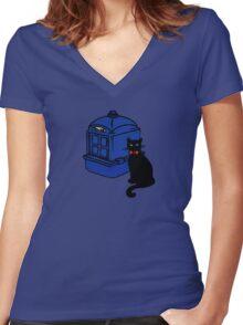 Kitty Who and the T.A.R.D.I.S Women's Fitted V-Neck T-Shirt