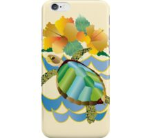 Pretty Sea Turtle Tropical Yellow Hibiscus Flowers iPhone Case/Skin