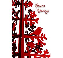 Red Seasons Greetings Photographic Print