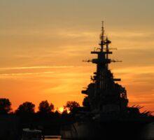 Battleship At Sunset Sticker