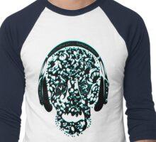 °ღ♫Cool Vintage Feel Skull Listening to Music Clothing & Stickers♪ღ° Men's Baseball ¾ T-Shirt