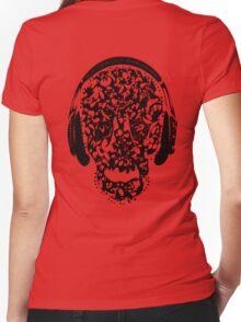°ღ♫Cool Vintage Feel Skull Listening to Music Clothing & Stickers♪ღ° Women's Fitted V-Neck T-Shirt