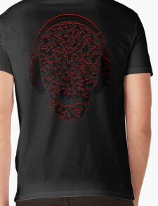 °ღ♫Cool Vintage Feel Skull Listening to Music Clothing & Stickers♪ღ° Mens V-Neck T-Shirt