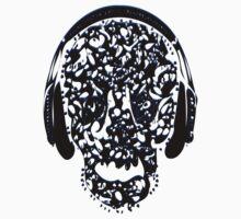 °ღ♫Cool Vintage Feel Skull Listening to Music Clothing & Stickers♪ღ° Kids Tee