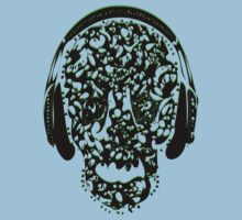 °ღ♫Cool Vintage Feel Skull Listening to Music Clothing & Stickers♪ღ° Kids Tee