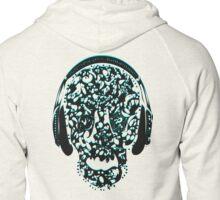 °ღ♫Cool Vintage Feel Skull Listening to Music Clothing & Stickers♪ღ° Zipped Hoodie