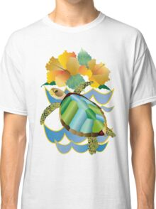Pretty Sea Turtle Tropical Yellow Hibiscus Flowers Classic T-Shirt