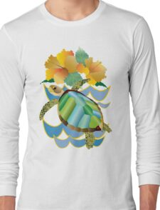 Pretty Sea Turtle Tropical Yellow Hibiscus Flowers Long Sleeve T-Shirt