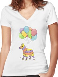 """""""Try and hit me now, suckers!"""" said Piñata.  Women's Fitted V-Neck T-Shirt"""