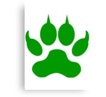 Green Wolf Paw Print Canvas Print