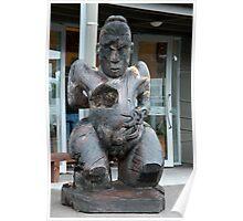 Maori Sculptured Wood Carving Poster