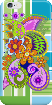 Retro Paisley Pattern and Flowers case by walstraasart