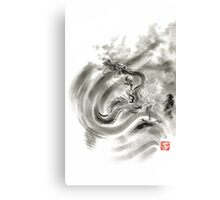 Wind dragons sumi-e ink painting dragons art Canvas Print