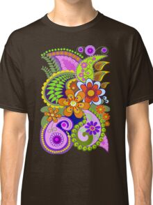 Retro Paisley Patterns and Decorative Flowers Classic T-Shirt