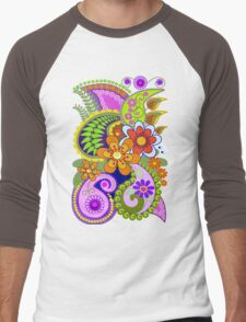 Retro Paisley Patterns and Decorative Flowers Men's Baseball ¾ T-Shirt
