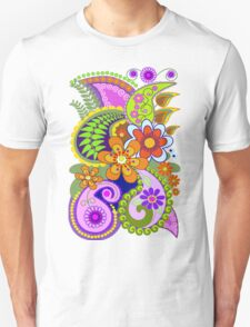 Retro Paisley Patterns and Decorative Flowers Unisex T-Shirt